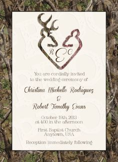camo deer hearts wedding invitation and rsvp card by mrsprint - Camouflage Wedding Invitations