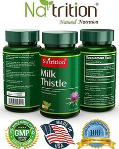3 Bottles of Milk Thistle Extract (Silybum Marianum) from  Na'trition - Provides Antioxidant Protection - 200mg 80 Capsules/ Bottle - Total 240 Capsules http://amzn.to/2kfMri8 #natritionmilkthistle