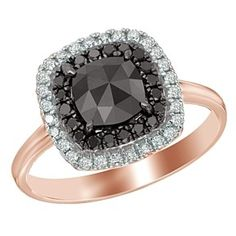 1.37 Ct Black And White Natural Diamond Double Frame Ring In 14K Rose Gold by JewelryHub on Opensky