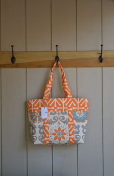 Large Handmade Tote Bag / Beach Bag / Diaper by SaltwaterStitches1, $65.00