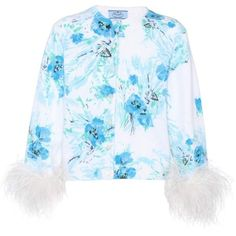 Prada Feather-Trimmed Printed Mohair and Wool Cardigan (€1.130) ❤ liked on Polyvore featuring tops, cardigans, multicoloured, feather trim top, wool tops, mohair cardigan, cardigan top and prada