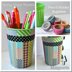 Pencil holder and washi tape Washi Tape, Duct Tape Crafts, Masking Tape, Locker Accessories, School Accessories, Diy Locker, Locker Ideas, Locker Crafts, Locker Stuff