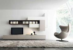 Affianco Wall Unit I by Sangiacomo, Italy in brown oak veneer and matt bianco and grigio corda lacquer. #furniture #modernfurniture #wallunit #livingroom