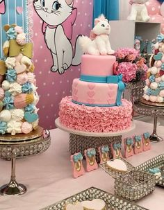 Aristocats Pretty Kitty Birthday Party - Birthday Party Ideas for Kids and Adults Birthday Cake For Cat, Birthday Party Desserts, Hello Kitty Birthday, Disney Birthday, Birthday Gifts For Girls, Girl First Birthday, Birthday Diy, Birthday Party Decorations, Birthday Parties