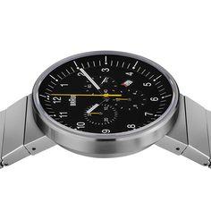 Amazon.com: Braun Men's BN0095BKSLBTG Prestige Chronograph Analog Display Swiss Quartz Silver Watch: Watches