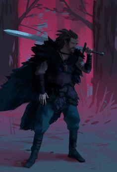 Aasimar barbarian : characterdrawing