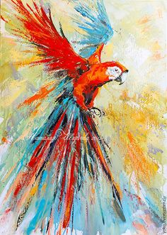 """Купить Картина с попугаем """"Летящий в Ореоле Света"""" (холст, масло) - ярко-красный, оранжевый, рыжий"""