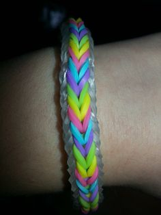 Loomed by Melia Allan and from design by Rainbow Loom. RL FB page. 13 hrs I just got a monster tail loom and made the cross quadfish! I chose jelly bands for my border and it makes a really nice, tight bracelet. Loom Bands Designs, Loom Band Patterns, Rainbow Loom Bands, Rainbow Loom Bracelets, Monster Tail Bracelets, Monster Tail Loom, Rainbow Loom Fishtail, Loom Bands Tutorial, Wonder Loom