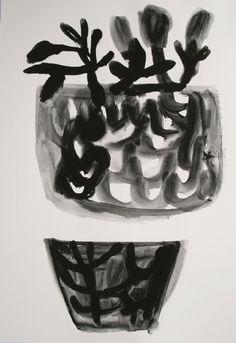 garden vessels - gouache sketch on paper