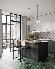 Best pictures, design and decor about kitchen flooring ideas, tile pattern. inexpensive - Kitchen floors for my modern kitchen Interior Desing, Interior Design Kitchen, Interior Inspiration, Modern Townhouse Interior, Decoration Inspiration, Home Decoration, Contemporary Interior, Decor Ideas, Black Kitchens