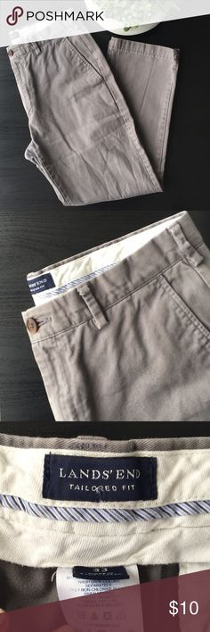 510f44284c Lands  End Tailored Fit Grey Chino Good condition cotton Waist Length  Lands  End Pants Chinos   Khakis