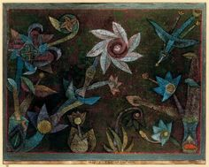Paul Klee (German/Swiss, 1879–1940): Crucifers und Spiral Flowers, 1925. Watercolour on glue priming on paper bordered in gouche and pen marginal strips on the botton in watecolour and pen mounted on cardboard