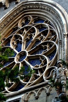 Beautiful Gothic window surround at Vajdahunyad Castle in Budapest, Hungary (by TomHanx).