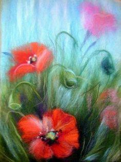 Картины из шерсти или «шерстяная живопись» сейчас очень популярны. Особенно красивы шерстяные цветы.