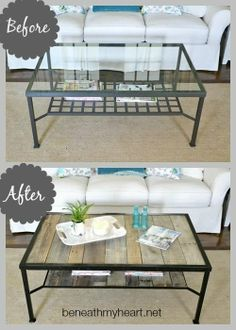 great #refurbished glass coffee table, with wood planks! #genius #diy