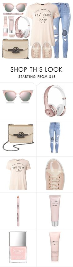 """Everyday Look"" by mezzanotteofficial ❤ liked on Polyvore featuring Fendi, Beats by Dr. Dre, Dorothy Perkins, Lanvin, Space NK, Jimmy Choo, Marc Jacobs, Pink and beige"