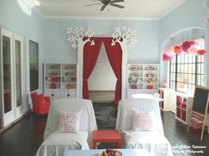 Curtain to optionally separate playroom from Greatroom...like the whimsical trees that are only seen from playroom side as well.