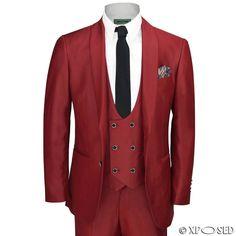 New Mens 3 Piece Maroon Shawl Lapel Slim Fit Vintage Tux Suit Wedding Party Prom