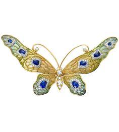 Butterfly Brooch, by Louis Comfort Tiffany, 1900s. Lifelike wings of plique à…