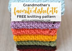 """Sometimes called """"Grandmother's Favorite Dishcloth Pattern,"""" it's so easy you'll want to make lots of them! Beginner Knitting Patterns, Dishcloth Knitting Patterns, Crochet Dishcloths, Knitting For Beginners, Easy Knitting, Loom Knitting, Knitting Stitches, Bamboo Knitting Needles, Knitted Washcloths"""