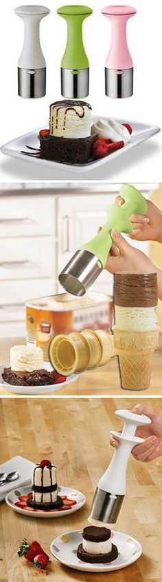 Cuisipro Scoop and Stack Ice Cream Scoop -  Makes your Ice Cream stacks more stable. Scoop  Release w/Ease.