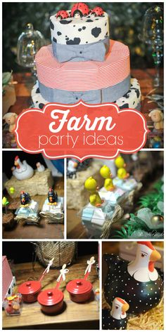 A Farm first birthday party with barnyard animal treats and decorations and gardening kit favors!  See more party ideas at CatchMyParty.com!