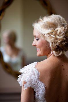 prettiest sleeves + upswept hair | Rebekah Hoyt #wedding