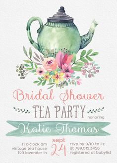 Tea Party Bridal Shower Invitations, Wedding Shower Invite Printable, Tea Pot, Florals, Watercolor, Bride Luncheon, Fall Bridal Shower  Invite your guests to tea with this watercolor invite.  PLEASE NOTE: This item is a DIGITAL FILE. You are purchasing a digital file only. No physical item will be shipped. No printed materials are included.  Upon placing your order, a jpeg file will be emailed to the email address you have registered with Etsy. Please check Shipping & Policies for current...