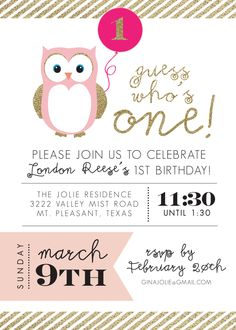 Owl party invitations decorations full printable package pink printable birthday invitation owl party pink and gold party first birthday guess whos one solutioingenieria Gallery