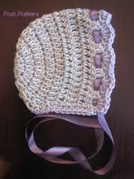 crochet bonnet pattern in purple
