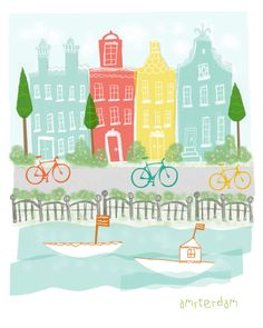 This print is an original illustration created by me inspired by the fun city of Amsterdam! It has the unique and colorful houses, the canals, the
