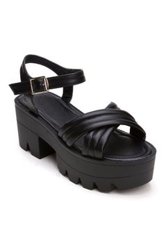 ROMWE | ROMWE Cross Pin Buckled Platform Chunky-heels Black Sandals, The Latest Street Fashion