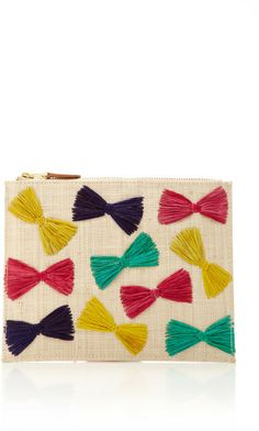 Ginny Straw Clutch With Raffia Embroidery by KAYU. This M'O exclusive woven zip clutch from Kayu features hand embroidered multi-colored bow detail throughout. Gold-tone zip closure with leather tab Lined with inner slip pocket Bow Clutch, T Shirt Yarn, Cute Bags, Ribbon Bows, Handmade Crafts, Embroidery, Closure, Latest Fashion, Womens Fashion