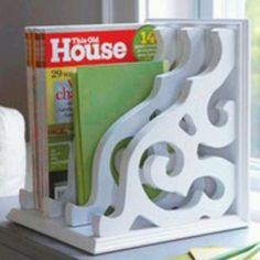 Magazine rack made with porch brackets