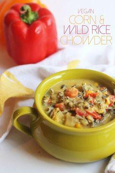 Vegan Corn & Wild Rice Chowder…a creamy, hearty, comforting chowder free of dairy!