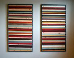 Récupéré le mur bois ensemble d'Art - Sculpture sur bois - 24 x 48