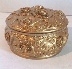 Gilt Ornate Rose Carved Jewelry/Trinket box Resin on Etsy, $22.00