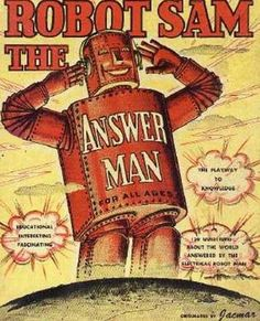 ROBOT SAM THE ANSWER MAN GAME BOX COVER 1950s