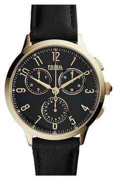 Fossil Fossil 'Abilene' Chronograph Leather Strap Watch, 34mm available at #Nordstrom