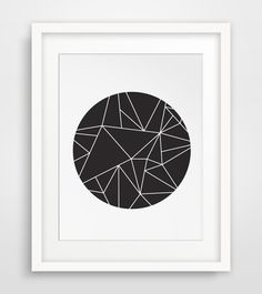 Black and White Minimalist Geometric Wall Decor, Printable Modern Home Decor, Black Circle Print, White Geometric Triangle Art, Digital Art