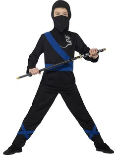 Buy your boy's ninja assassin costume for your child from the Halloween Spot. It is a black and blue ninja costume with with Hood, Mask, Top & Trousers.