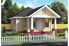 Looking for a minimalist lifestyle? Then this tiny house in the Cottage style may be perfect for you. The house would also be perfect as a romantic vacation cabin or a backyard guest cottage! This sweet 1-story home's floor plan has 412 square feet of heated and cooled living space and includes 1 bedroom. Bungalow House Plans, Craftsman Style House Plans, Country House Plans, House Plans And More, Best House Plans, Small House Plans, Monster House Plans, Cottage Style Homes, Build Your Dream Home