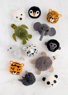 Learn how to make twelve different pom poms, each one inspired by an endangered animal! Pom Pom Crafts, Yarn Crafts, Diy Crafts, Animal Crafts For Kids, Diy For Kids, Crafts To Make, Arts And Crafts, Pom Pom Animals, Pom Pom Maker