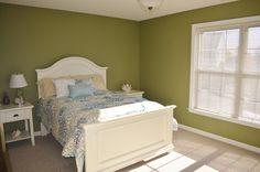 spare bedroom, green serene decor