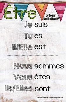 Verbes+au+prsent+de+l'indicatif+en+franais!!+11''+x+17''-tre-aller-aimer-avoir-dire-faire