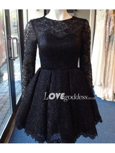 Black Long Sleeves Lace Short Party Dress With Sheer Back