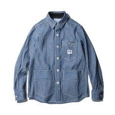 [Espionage - Caden Heavy Denim Stripe Work Shirt Jacket Indigo]