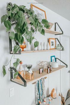 DIY metal and natural wood hanging shelves using Ekby Lerberg Reverse Shelf Hanging Ikea Hack rnrnSource by Shelves In Bedroom, Wood Bedroom, Diy Bedroom Decor, Diy Home Decor, Wood Headboard, Nature Bedroom, Bedroom Ideas, Baby Bedroom, Nursery Ideas