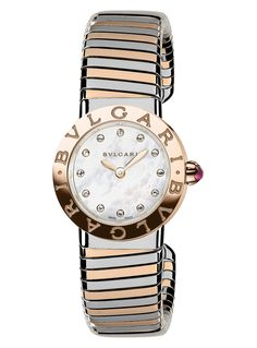 BVLGARI - BVLGARI-BVLGARI collection-Tubogas 18ct pink-gold, stainless steel and diamond watch | Selfridges.com