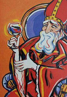 Sinterklaas drinkt een Bisschopswijntje